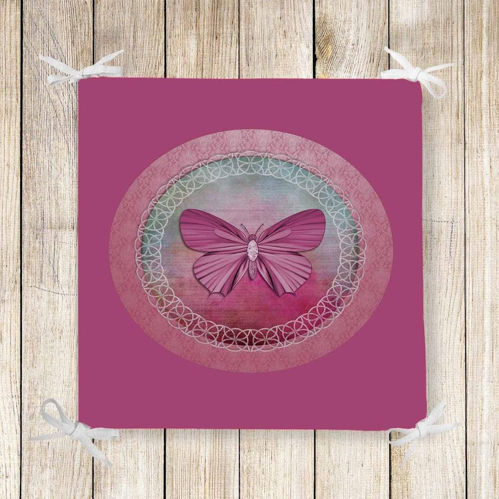 Else Pink Floor Vintage Butterfly 3d Print Square Chair Pad Seat Cushion Soft Memory Foam Full Lenght Ties Non Slip Washable