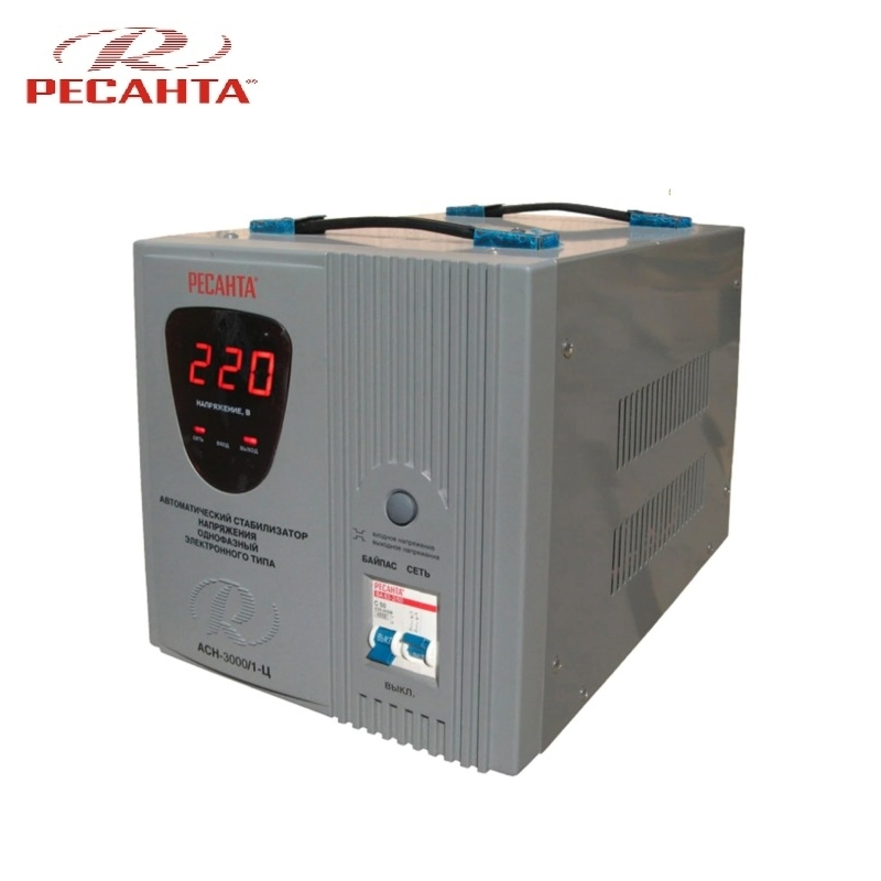 Single phase voltage stabilizer RESANTA ASN-3000/1-C Relay type Voltage regulator Monophase Mains stabilizer Surge protect voltage regulator resanta asn 12000 n1 c