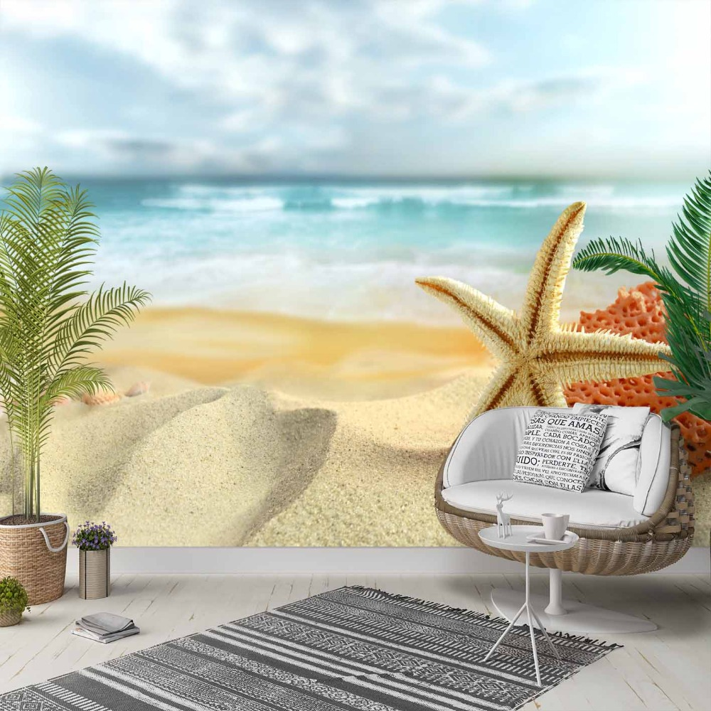 Else Tropical Beach Sand Blue Sea Stars Sky 3d Photo Cleanable Fabric Mural Home Decor Living Room Bedroom Background Wallpaper
