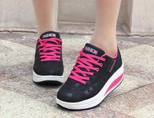 Fashion Women Height Increasing Summer Breathable Waterproof Wedges Sneakers Platform Shoes Woman Pu Leather Casual Shoe