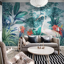 Hand painted tropical rainforest background wall large high-grade canvas factory wholesale wallpaper mural photo wall hand painted tropical rainforest plantain wall custom high end mural factory wholesale wallpaper mural photo wall