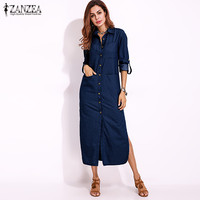 2017 ZANZEA Women Autumn Denim Blue Long Sleeve Turn Down Collar Buttons Down Casual Split Long