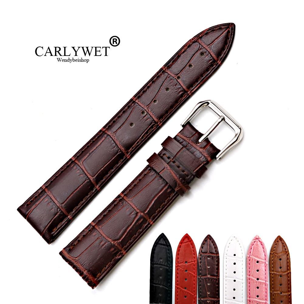 12 14 16 18 20 22 24mm New Genuine Cowhide Leather Black Dark Brown Red Pink White Classic Alligator Grain Watch Band Strap Belt