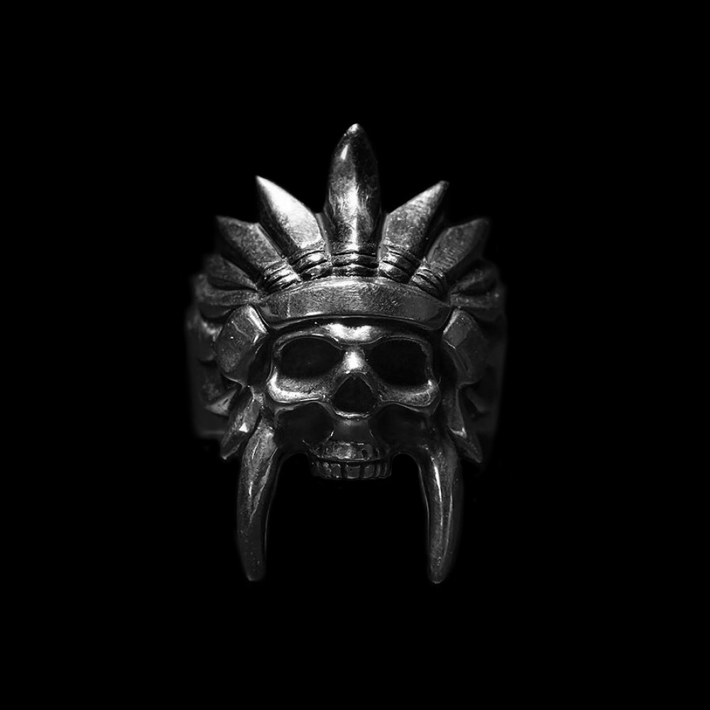Hombre plata Color 316L Acero inoxidable africano Tribal Chieftain cráneo anillos Punk Biker fiesta moda joyería
