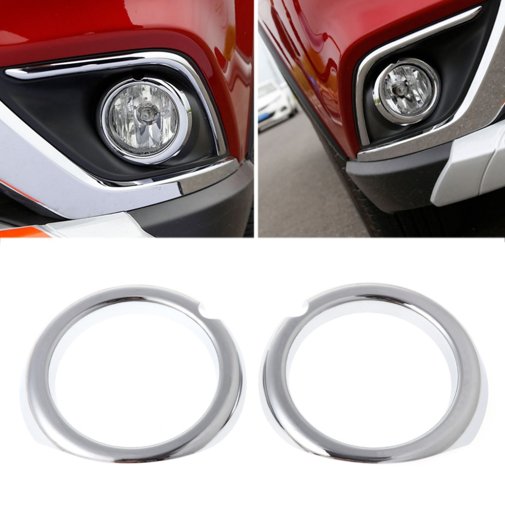 2PCS/SET Chrome Car Back Rear/Front Fog Light Lamp Cover Trim For Mitsubishi Outlander 2016 2017 car front fog lamp cover rear tail fog lamp cover trim abs chrome fit for citroen c4l 2013 2014 2pcs per set