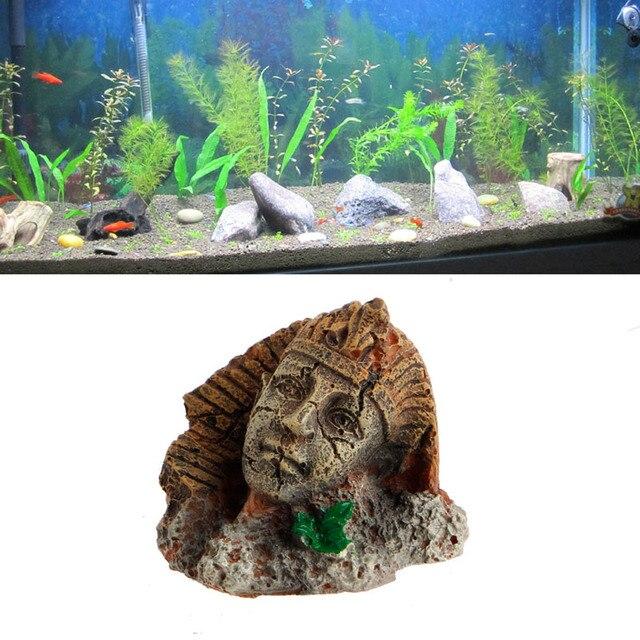 Antique Egyptien Pharaon Sphinx Ruines Aquarium Ornement Fish Tank