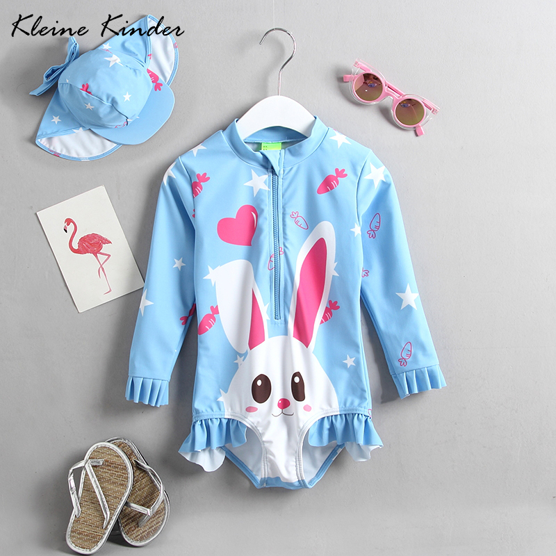 ae94a58f31f71 Detail Feedback Questions about Swimwear for girls cartoon rabbit blue one  pieces children swimsuit sun protection long sleeve rashguard baby girl  bathing ...