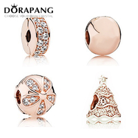 DORAPANG 100 925 Sterling Silver Rose Gold Clear CZ Christmas Tree Charm Bead Collocation Bangle DIY