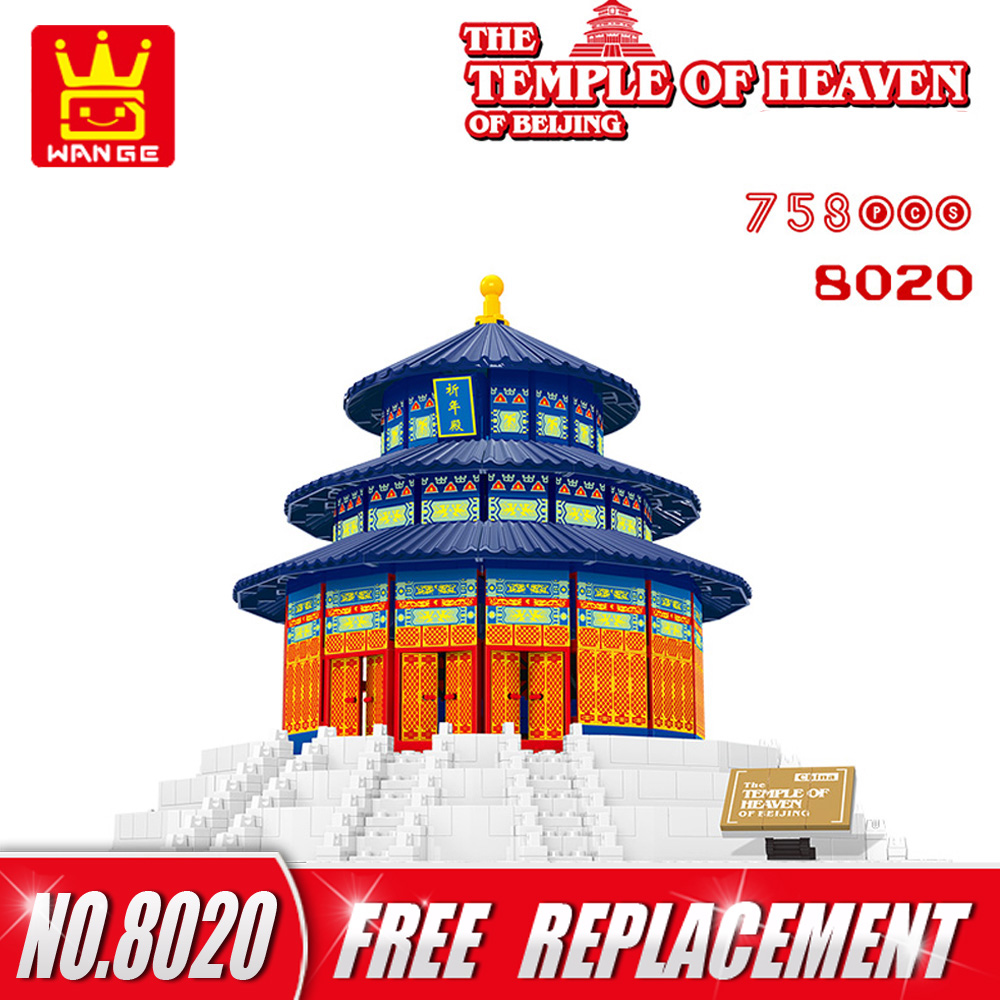 WANGE Building Blocks Famous Architecture The TEMPLE OF HEAVEN-CHINA 1052pcs Bricks Educational Toys for Kids NO.8020 hot toys nanoblock world famous architecture statue of liberty building blocks mini construction brick model iblock fun for kid