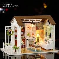 KiWarm Cute Happy Times Wood Dollhouse Miniature LED Light Assembled Home Room Set DIY House Handicraft Toy Idea Gift Ornament