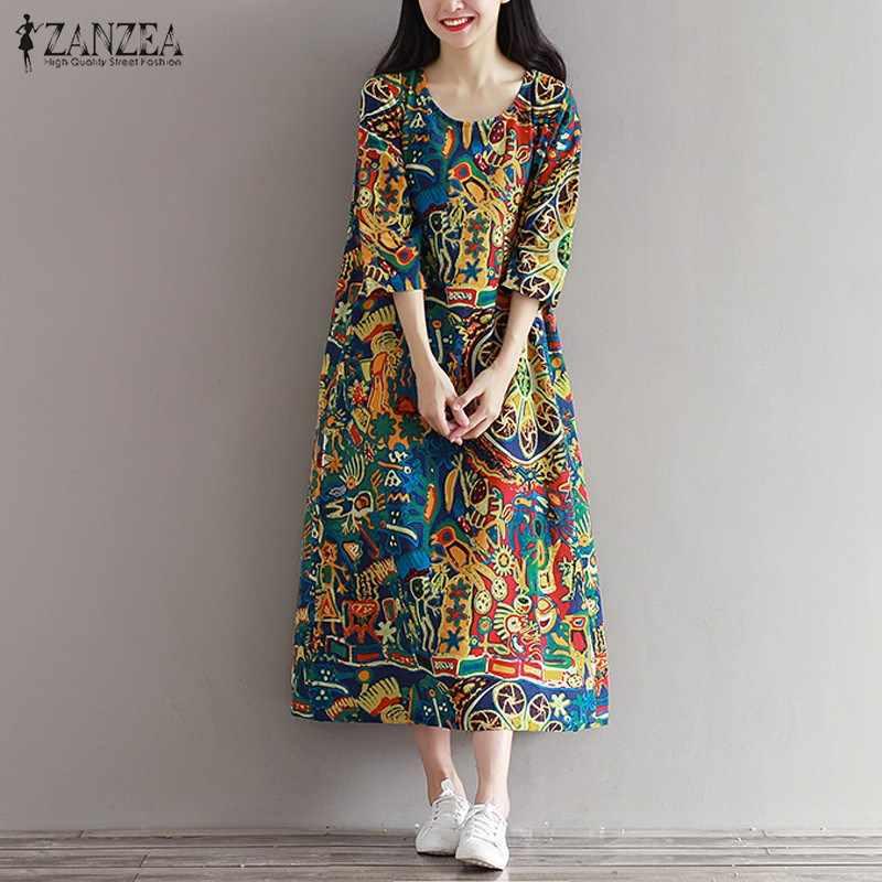 2018 ZANZEA Women 3 4 Sleeve Vintage Random Floral Print Pockets Summer Loose  Casual Party c9bfe86eaa40