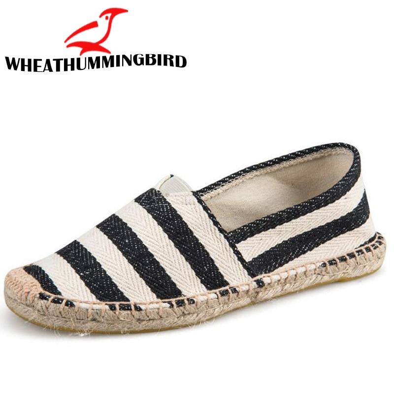 Men Flats Plimsolls Striped Canvas Men Casual Shoes 2018 Fashion Flat Heels Men Linen Male Espadrille Fisherman Shoes LA-32 embroidered letter striped espadrille flats