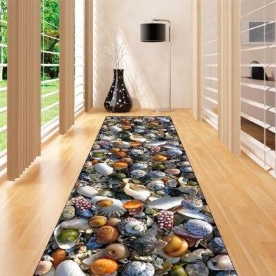 Else Navy Blue White Sea Shells Sea Stars 3d Print Non Slip Microfiber Washable Long Runner Mat Floor Mat Rugs Hallway Carpets