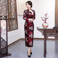 Shanghai Story Keyhole Chinese Style Dress Long Cheongsam Velvet Qipao Chinese oriental dress Long Sleeve Party Dress For Women