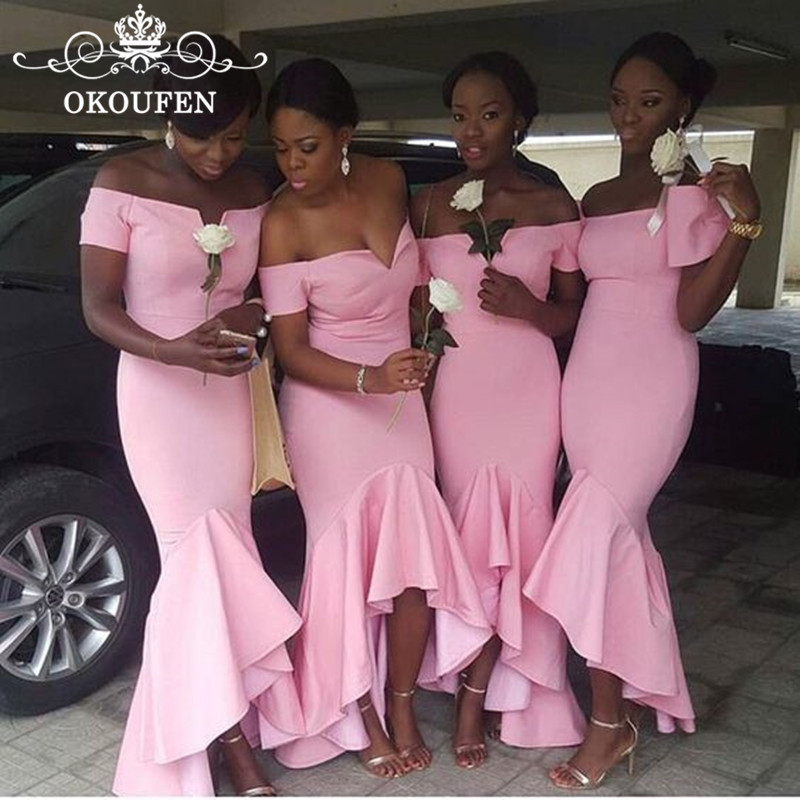 Ruffles High Low Mermaid   Bridesmaid     Dresses   For Women 2018 Off Shoulder Ankle Length Pink Satin Long Party   Dress   Formal Gown