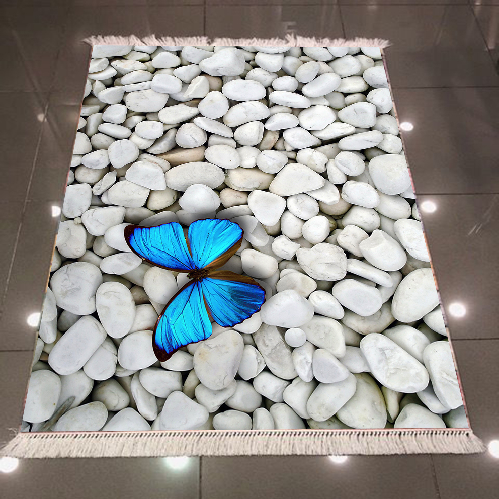 Else White Gray Pebble Stones On Blue Butterfly 3d Print Microfiber Anti Slip Back Washable Decorative Kilim Area Rug Carpet