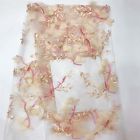 Fashionable African French Net Lace Embroidery Nigeria Wedding Champagne Gold Tulle Lace 3d Fabrics X648 3