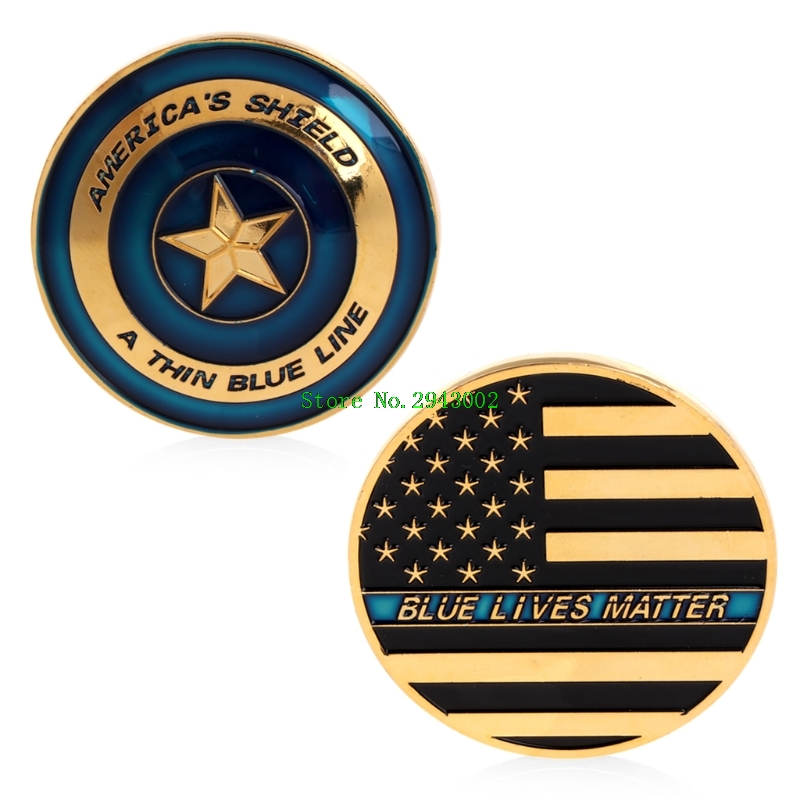 Commemorative Coins Gold Plated America Shield Blue Line Commemorative Challenge Coin Collectible