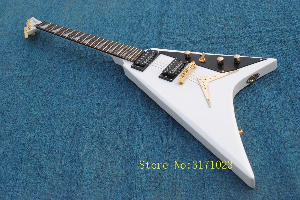 China Top Quality white Jacksonn Electric Guitar Randy Rhoads Flying V Guitar with Customed Free Shipping jackson usa rr1 randy rhoads ebony fretboard snow white w black pinstripes