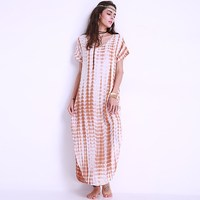 Summer Women Long Maxi Dress Plus Size Short Sleeve Sexy Casual Beach Party Robe Side Split
