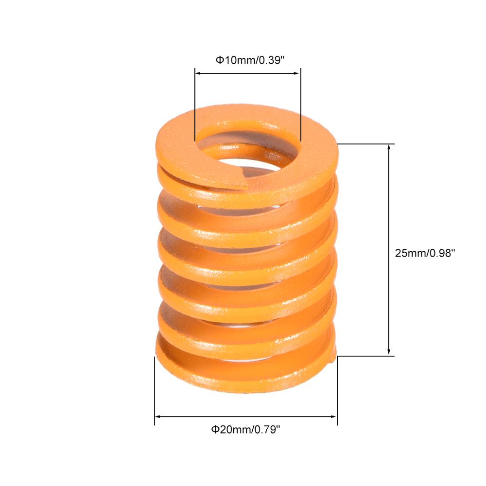 uxcell 8mm OD 40mm Long Light Load Compression Mould Die Spring Yellow 10pcs