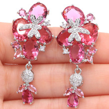 New Designed Long Big Pink Morganites Natural White Cubic Zirconia Silver Earrings 46x19mm