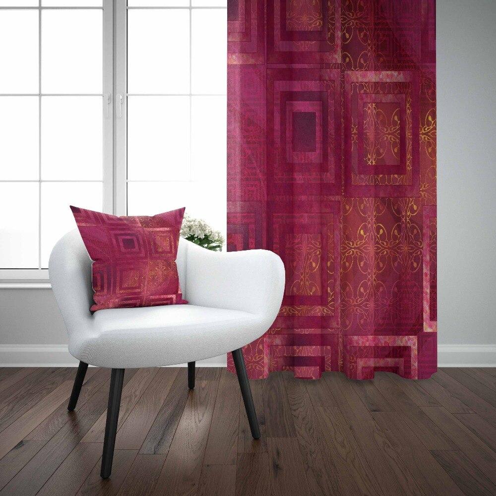 Sinon violet carré ikat Nordec géométrique jaune lignes 3D imprimer salon chambre fenêtre panneau rideau combiner cadeau taie d'oreiller