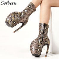 Sorbern Serpentine Print Med Calf Boots Lady Gaga Footwear Lobster Claw Shoes Women Plus Size Unisex Boots Fetish High Heels