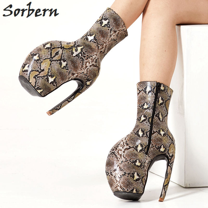 Sorbern Serpentine imprimer mollet bottes Lady Gaga chaussures homard griffe chaussures femmes grande taille unisexe bottes fétiche talons hauts