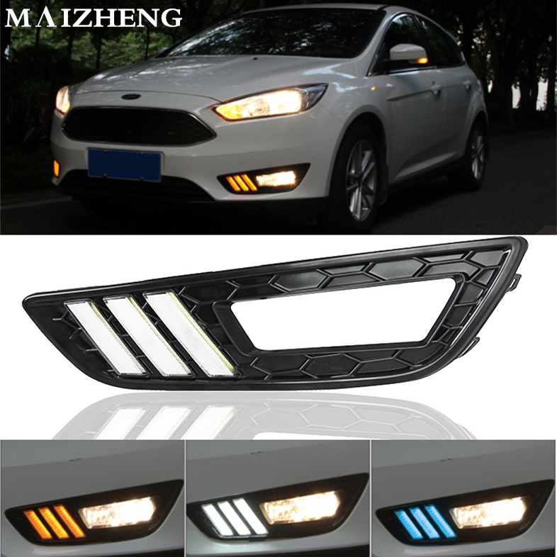 Turn Signal and dimming style Relay 12v LED Auto Car DRL daytime running light Bumper Front Fog lamp for Ford Focus 4 2015 2016 2015 new arrival 12v 12volt 40a auto automotive relay socket 40 amp relay