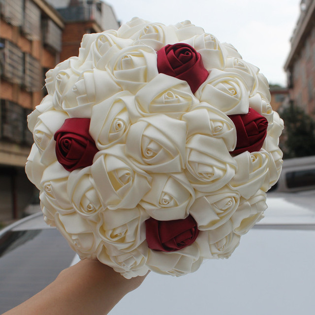 Us hot style burgundy cream artificial flowers foam ball wedding us hot style burgundy cream artificial flowers foam ball wedding bridal bouquet durable pearl wedding bouquet mightylinksfo