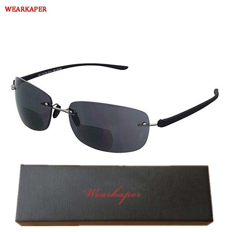 WEARKAPER Rimless Bifocal Reading Sunglasses-Lightweight