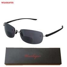 d6238d27a5 WEARKAPER Rimless lectura bifocales gafas de sol ligero