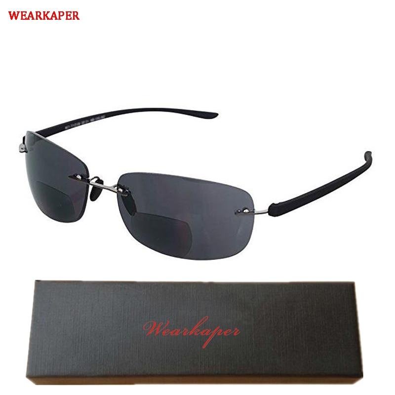 Wearkaper sem aro óculos de sol de leitura bifocal-leve