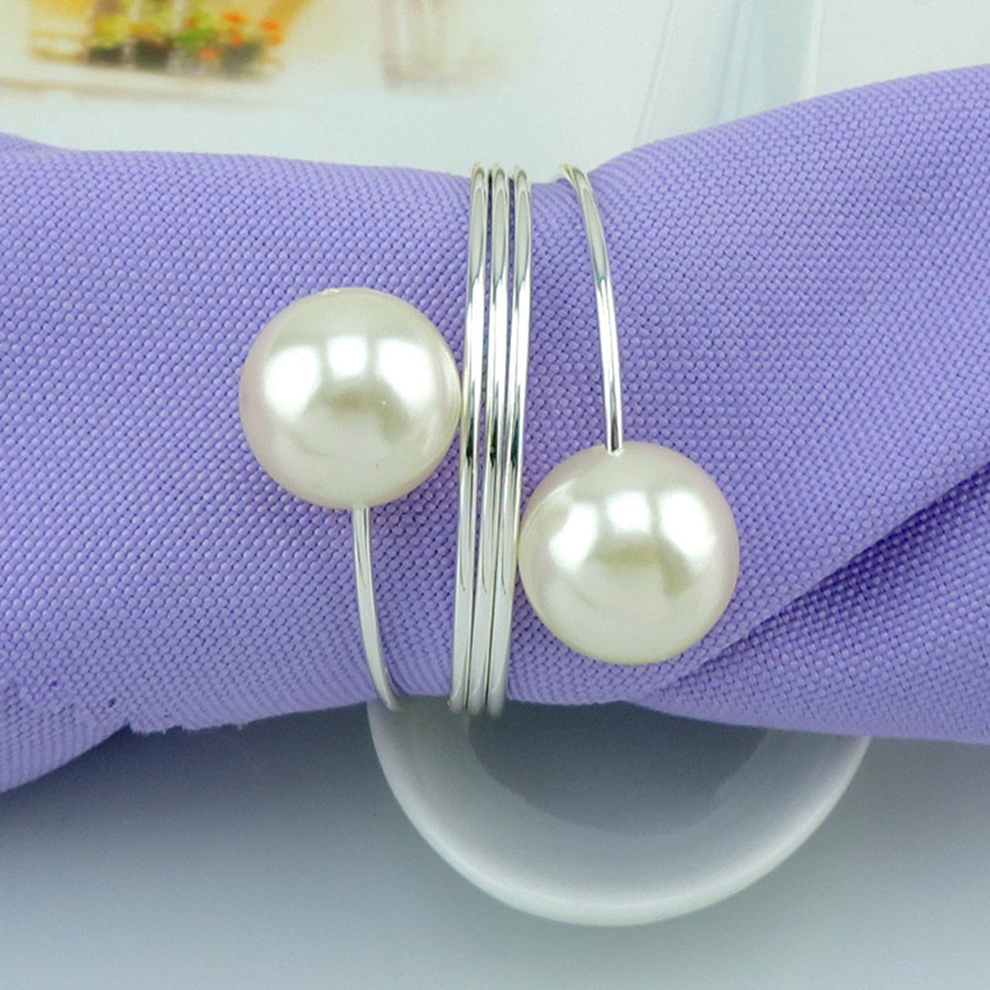 Wholesale 100pcs lot Pearl Metal Serviette Holder For Hotel Wedding Supplies Napkin Ring Restaurant Table Decors
