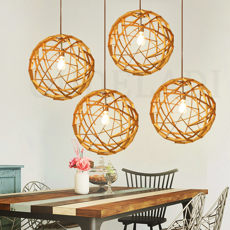New Nordic Wood Art Pendant Lights Hand-woven Wooden Light For home deco living room Round ball Hanging Light Fixture brass half round ball shade pendant light led vintage copper wooden lighting fixture brass wood fabric wire pendant lamp