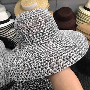 Image 4 - Женская пляжная шляпа с широкими полями, соломенная шляпа с защитой от УФ лучей UPF50, складная летняя шляпа от солнца, Kentucky Derby, дышащая, новинка 2019