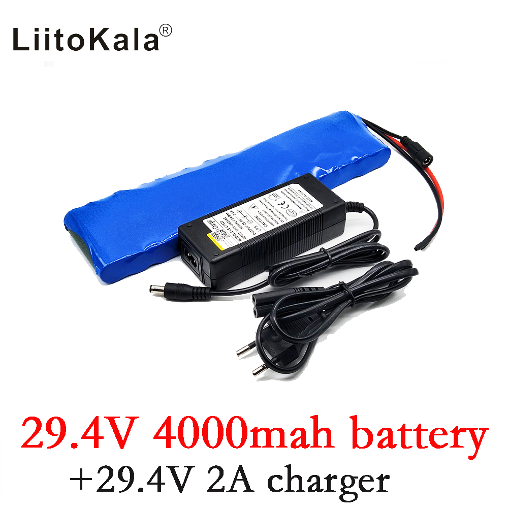 HK LiitoKala 24V 4Ah 7S2P 18650 Battery li-ion battery 29.4v 4000mah electric bicycle moped /electric +2A charger 2017 liitokala new original 18650 3400mah battery rechargeable li ion ncr18650b 3 7v 3400 battery