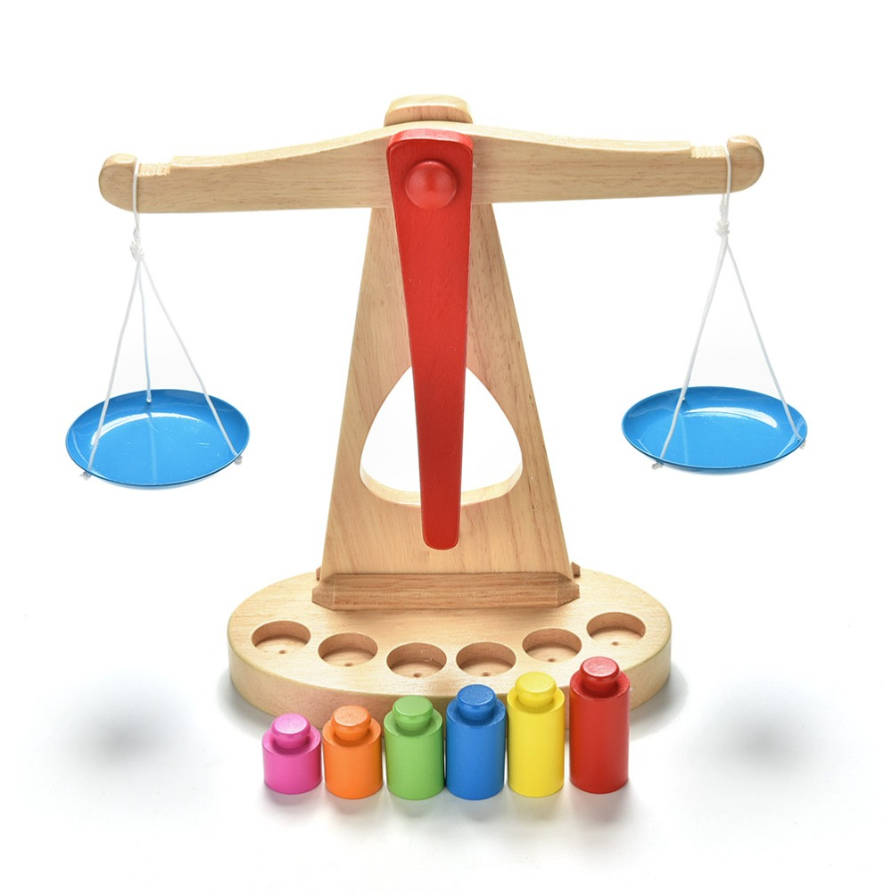 c41963d65669 US $12.6 16% OFF Montessori Educational Toy Small Wooden New Balance Scale  Toy With 6 Weights For Kids-in Math Toys from Toys & Hobbies on ...