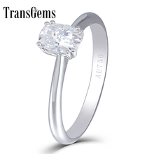 Transgems 14K White Gold Center 2ct 7X8MM Cushion Cut  F Color Lab Grown Moissanite Engagement Ring Wedding Gifts for Women