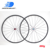 880g Only Lightest 700c 24mm x 23mm Carbon Tubular Road Bike Wheels Cycling Wheel set Extralite/Carbon Ti Super Light Hubs