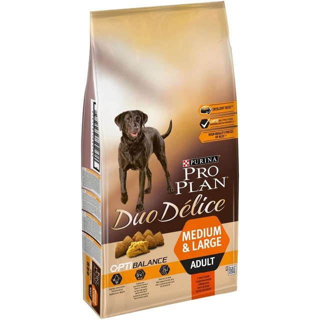 Сухой корм Pro Plan DUO DÉLICE для взрослых собак с говядиной и рисом, Пакет, 10 кг