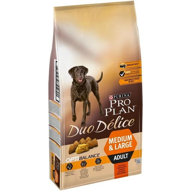 Корм для собак Purina Pro Plan DUO DÉLICE, для взрослых собак, с говядиной и рисом, пакет 10 кг