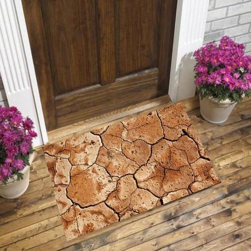 Else Brown Dried Cracked Soil Nature 3d Pattern Print Anti Slip Decorative Floor Door Mat Home Entryway Livingroom