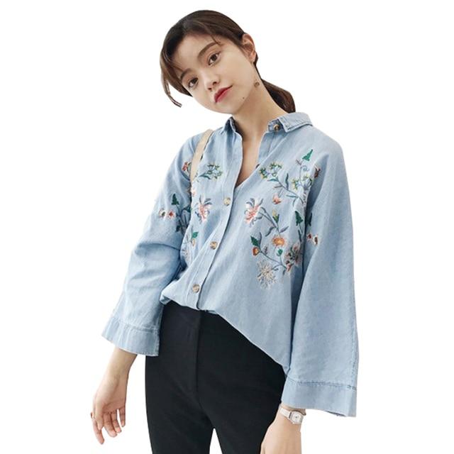 f562a864eedc76 New Woman Denim Shirt Fashion Style Long Sleeve Casual Shirts Women tunic  Blouses Blusa Jeans Feminina