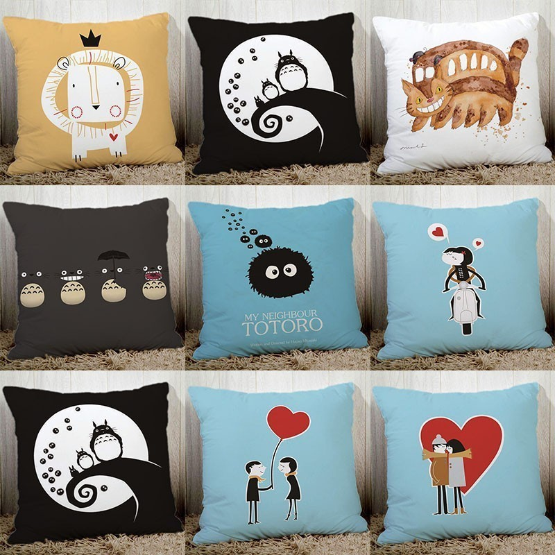 New Cartoon Cute Totoro Printed Couch Cushion Cover Sofa Bedding Pillowcase 45x45cm Pillow Case Polyester Car Seat Back Cushions