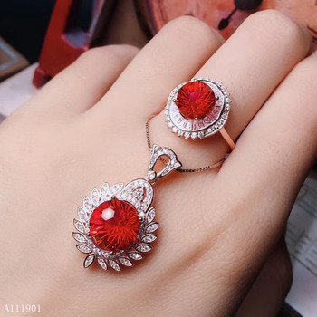KJJEAXCMY boutique jewels 925 sterling silver inlaid natural Red Topaz Pendant Necklace + ring suit support detection