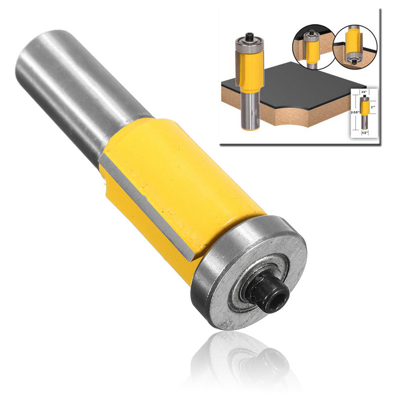3/4''W X 1''H 1/2'' Shank Flush Trim Carbide Router Bit End Bearing Wood Tool Wood Milling Cutter Flooring Wood Working Tools 1 2 shank router bit milling cutters for doors woodworking tool trimming flooring wood tools