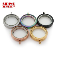 New Arrival 5pcs Mix Five Color Floating Locket Charms Stainless Steel Magnetic Open Glass Round Floating Locket For DIY Jewelry