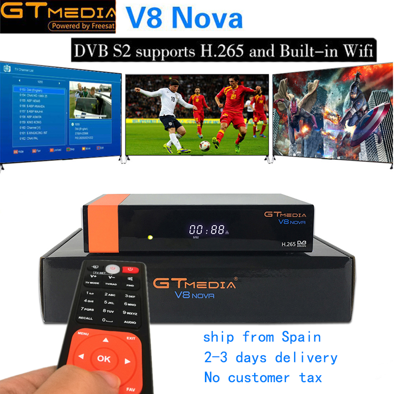 New Gtmedia V8 Nova Built wifi DVB-S2 Freesat V8 Super Satellite TV Receiver GT media v8 nova receptor with Full HD 1080P